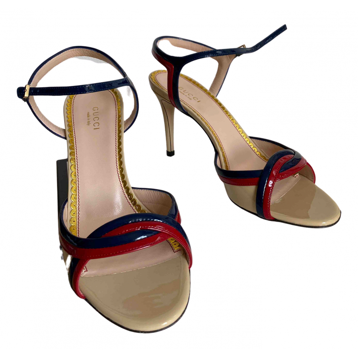 Gucci N Beige Patent leather Sandals for Women 38.5 EU