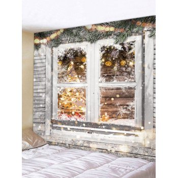 Christmas Wooden Window Print Tapestry Wall Hanging Art Decoration