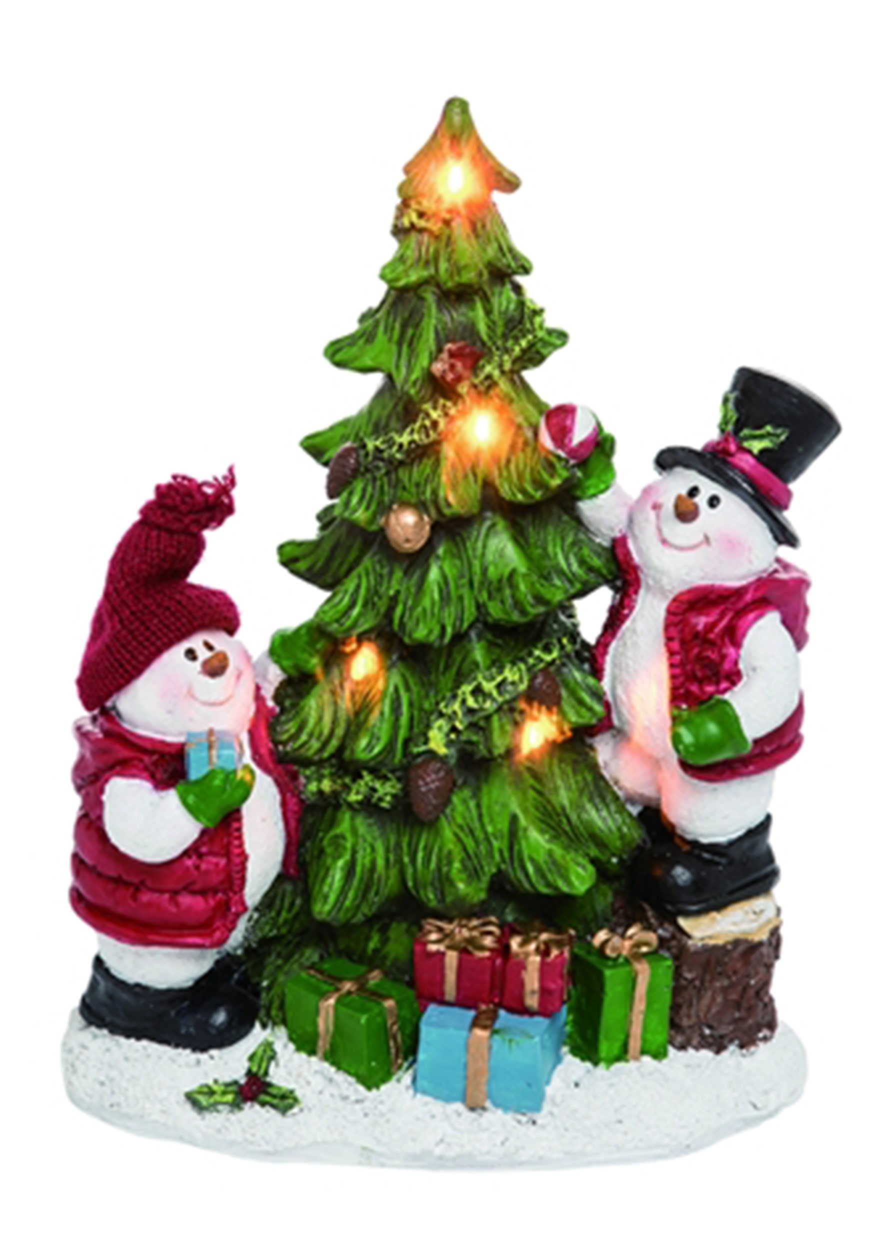 Clever Resin Light Up Snowman Decorating Tree Christmas Decor