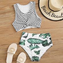 Striped & Tropical Print Twist Bikini Swimsuit