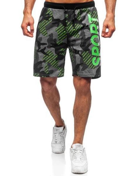 Yoins Men Camouflage Letter Printed Elastic Waist Drawstring Fitness Shorts