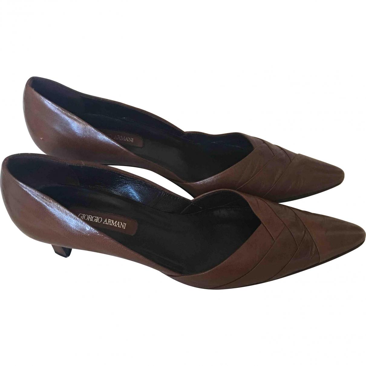 Giorgio Armani \N Brown Leather Heels for Women 39 EU