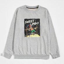 Guys Letter Skull Graphic Sweatshirt
