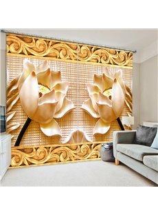 Fantastic Embossed Lotus 3D Printed Polyester Curtain