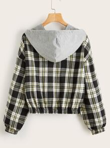 Drop Shoulder Contrast Hooded Plaid Jacket