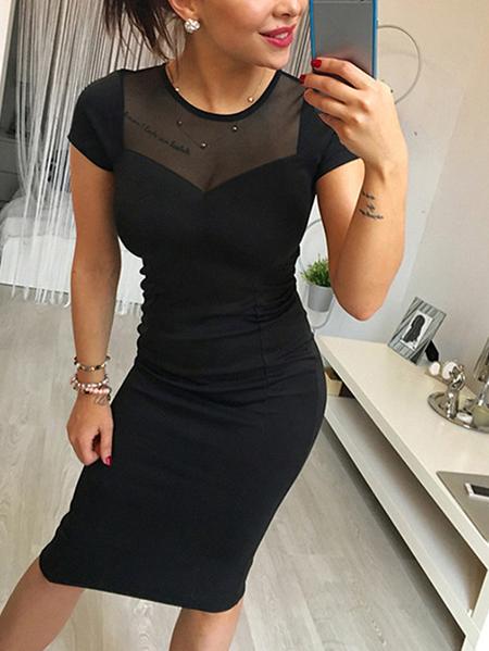 Yoins Black Zipbackfastening Round Neck Short Sleeves Dress