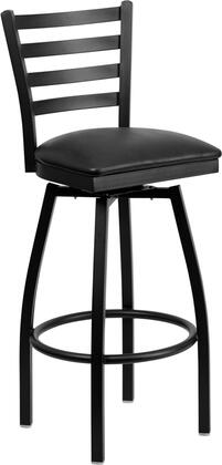 XU-6F8B-LADSWVL-BLKV-GG HERCULES Series Black Ladder Back Swivel Metal Bar Stool - Black Vinyl