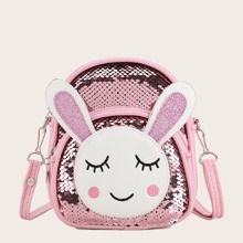 Girls Sequin Decor Rabbit Graphic Crossbody Bag