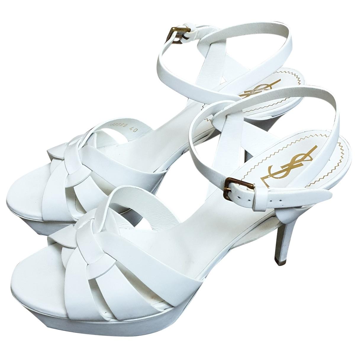 Yves Saint Laurent \N White Leather Sandals for Women 40 EU