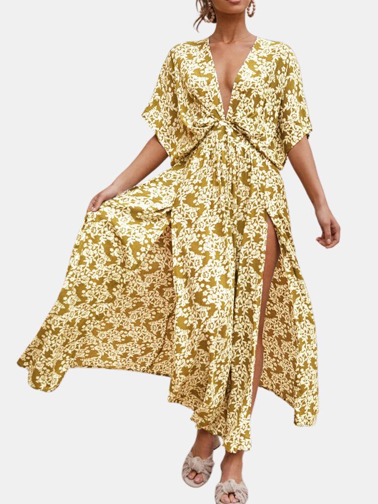 Splited Batting Sleeve Print Bohemian Maxi Dress For Women