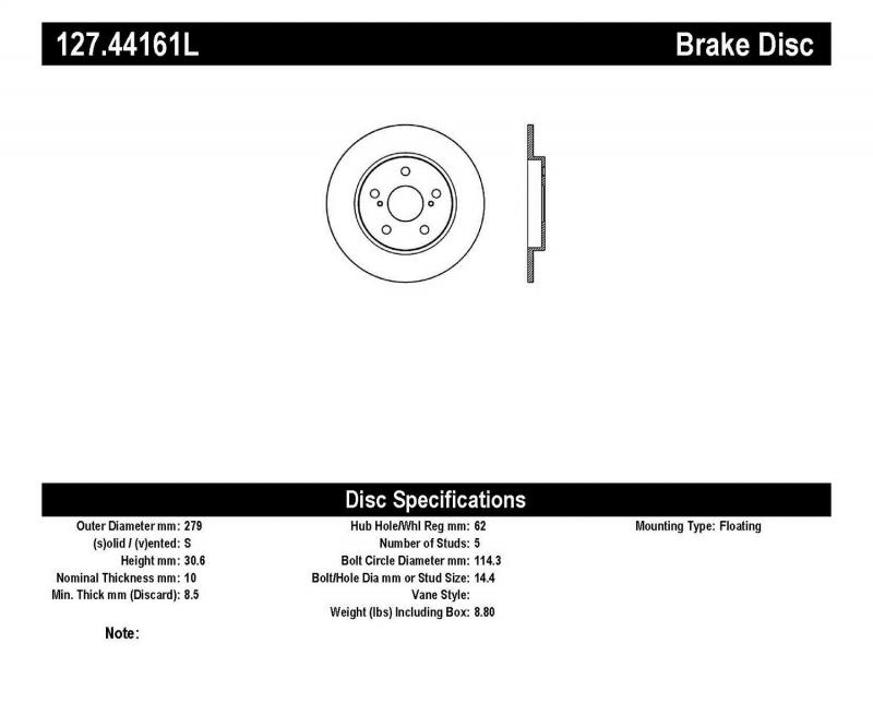 StopTech 127.44161L Sport Drilled/Slotted Brake Rotor; Rear Left Rear Left