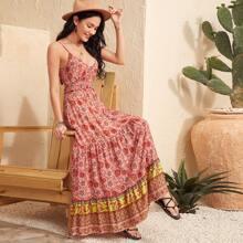 Cami Kleid mit Knopfen vorn, geraffter Taille, Band und Ausschnitt hinten