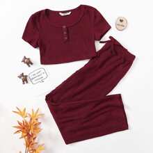 Girls Button Half Placket Tee and Knotted Waist Pants Set