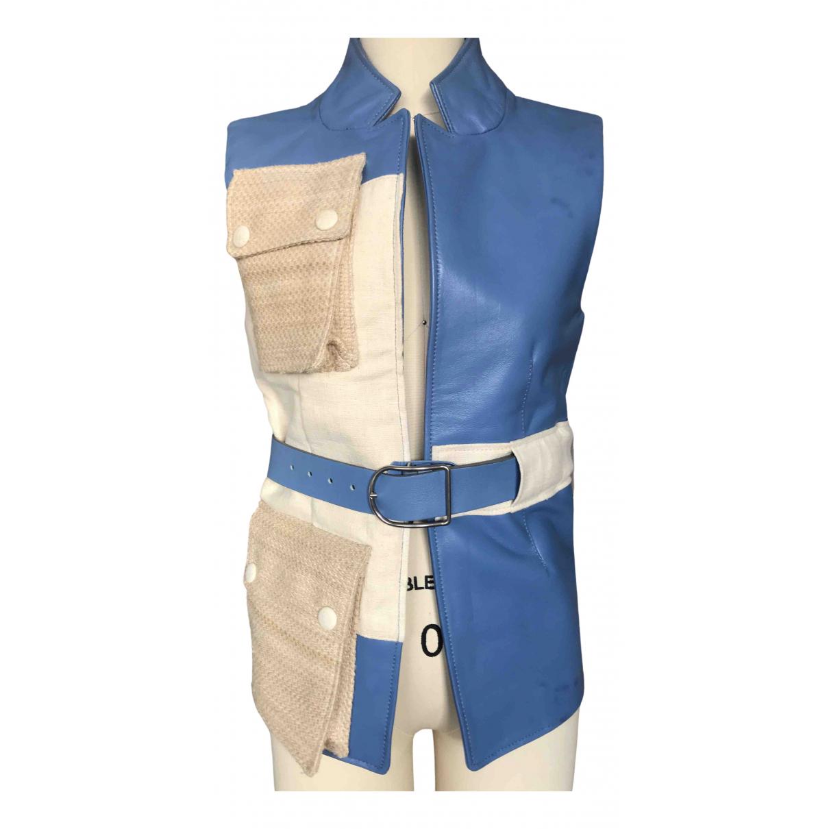 Acne Studios - Veste   pour femme en cuir - bleu