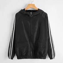 Striped Tape Side Sleeve Zip Up Windbreaker Jacket