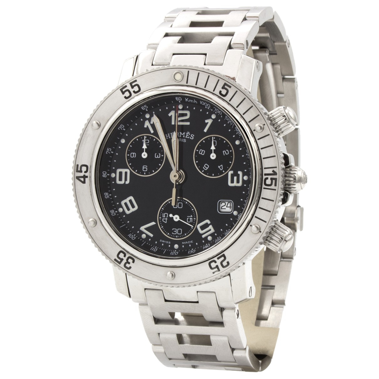 Hermes Clipper Chronographe Uhr in  Silber Stahl
