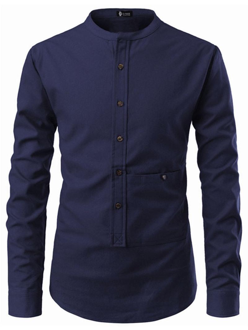 Ericdress Casual Stand Collar Pocket Slim Mens Shirt