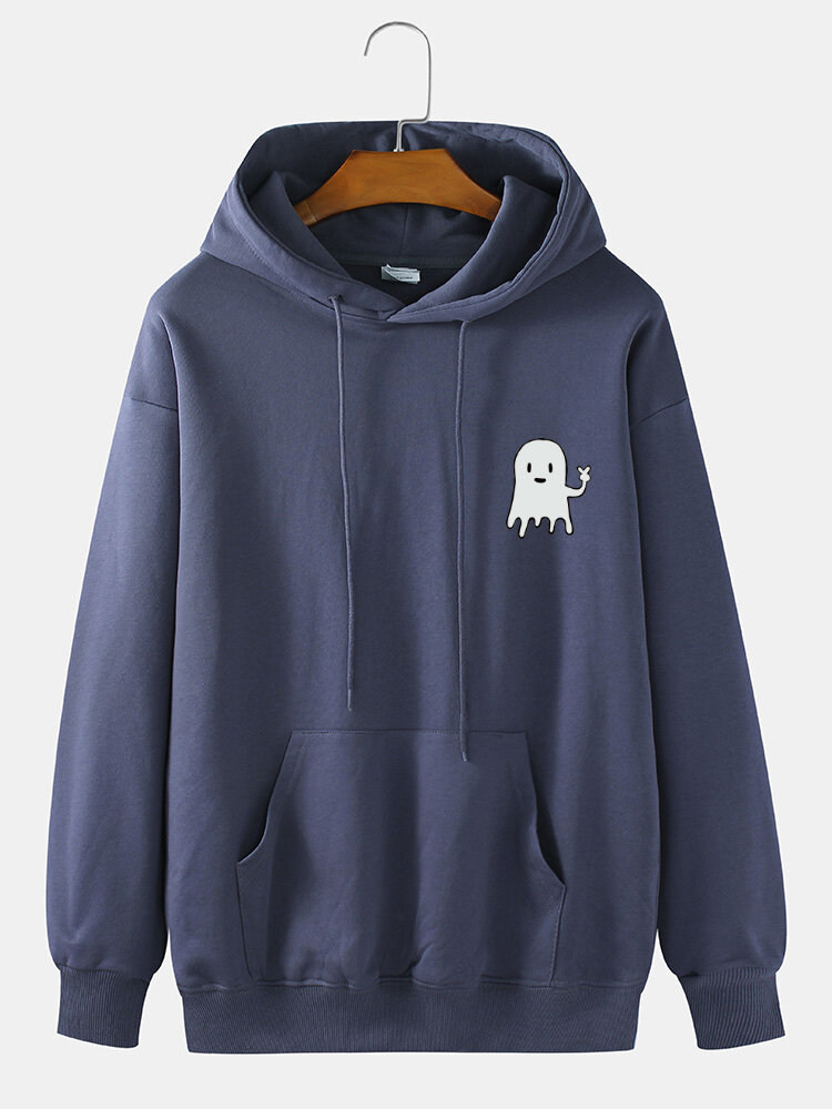 Mens 100% Cotton Halloween Cartoon Animal Print Drop Shoulder Drawstring Hoodies
