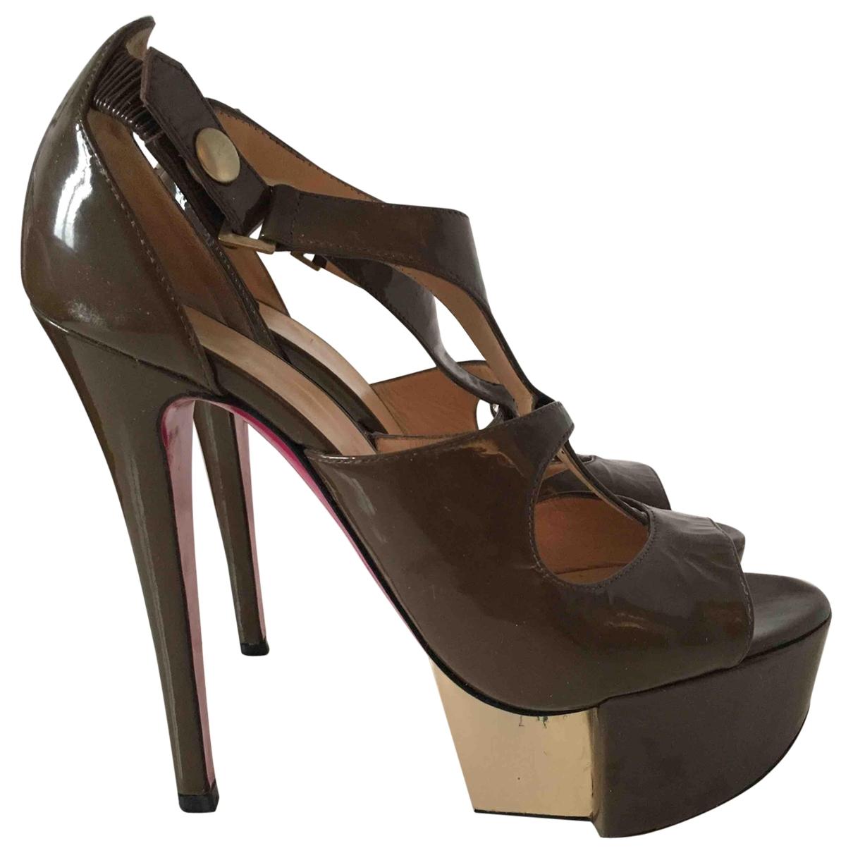 Versace \N Brown Patent leather Heels for Women 37 EU