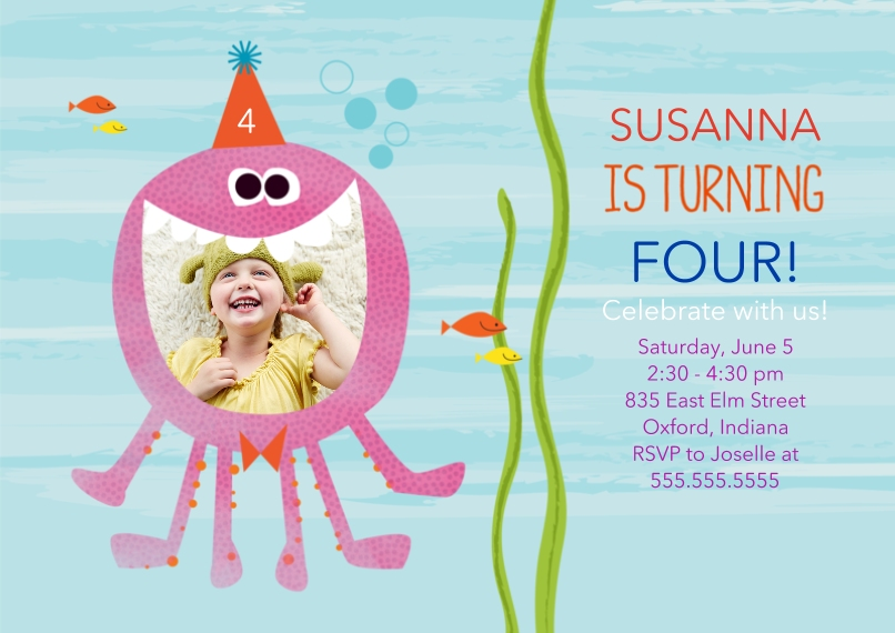 Kids Birthday Party Invites 5x7 Cards, Premium Cardstock 120lb with Rounded Corners, Card & Stationery -Sea Creature Birthday Smile