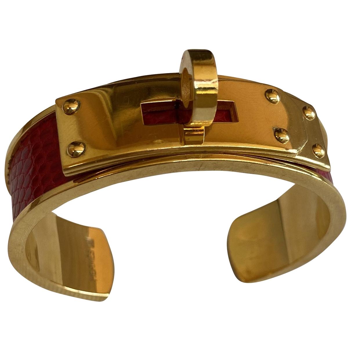 Hermes - Bracelet Kelly pour femme en lezard - dore