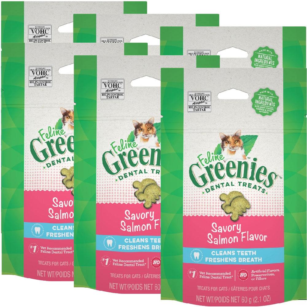 Greenies Feline Dental Treats - Savory Salmon Flavor 6-Pack (12.6 oz)