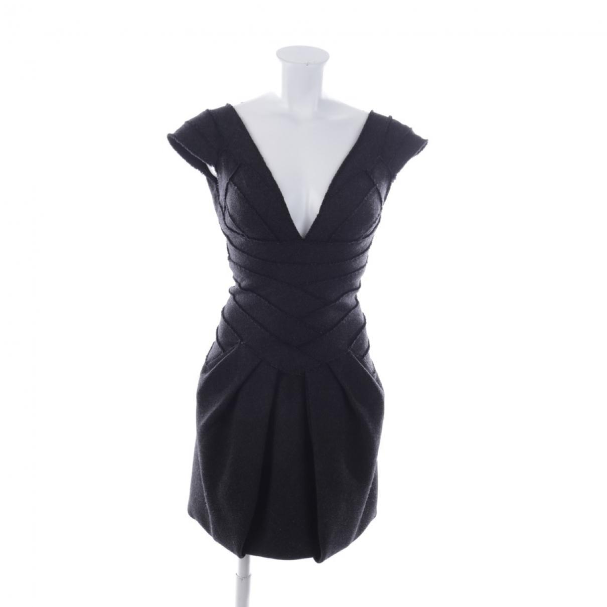 Herve Leger \N Kleid in  Grau Wolle