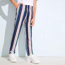 Pantalones de niños de rayas de cintura con cordon
