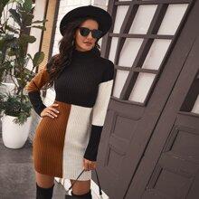 Rippenstrick Pullover Kleid mit Farbblock