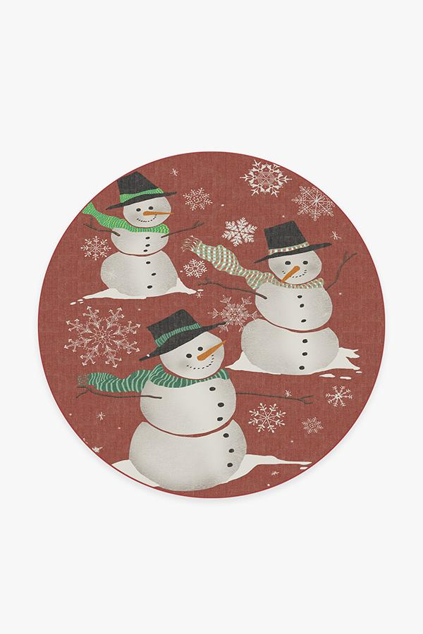 Washable Rug Cover | Snowman Rug | Stain-Resistant | Ruggable | 6 Round