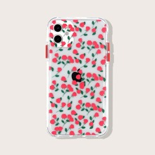 Flower Print Transparent iPhone Case