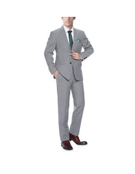 Mens Light Grey Single breasted Classic Fit 2-Piece Wool Suit