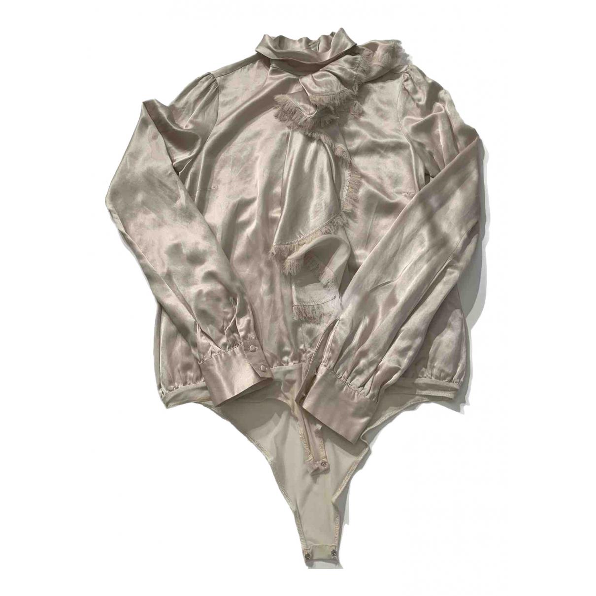 Pinko - Top   pour femme en soie - beige