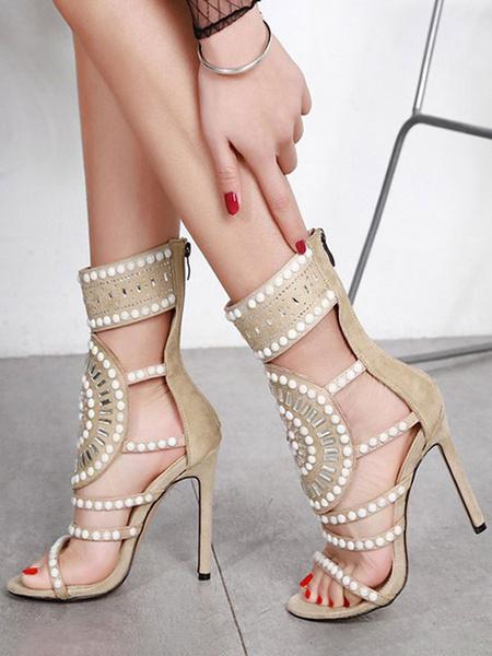 Milanoo High Heel Sandals Womens Beaded Design Open Toe Stiletto Heels Sandals with Zipper