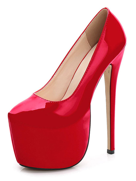 Milanoo Women Sexy Shoes Apricot Platform Round Toe Stiletto High Heels