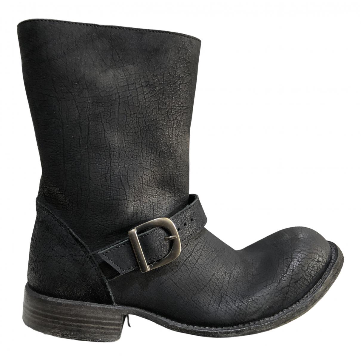 10sei0otto \N Anthracite Leather Boots for Women 38 EU