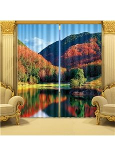 3D Forest and Peaceful Lake Printed Wonderful Autumn Scenery 2 Panels Custom Living Room Curtain