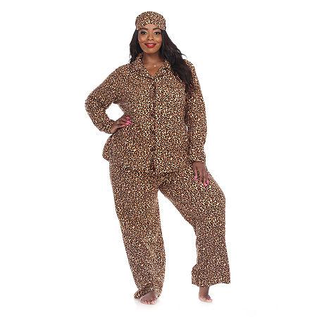 White Mark Womens-Plus Pant Pajama Set 3-pc. Long Sleeve, 4x , Brown