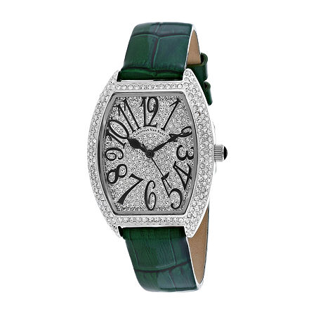 Christian Van Sant Womens Green Leather Strap Watch-Cv4821g, One Size , No Color Family