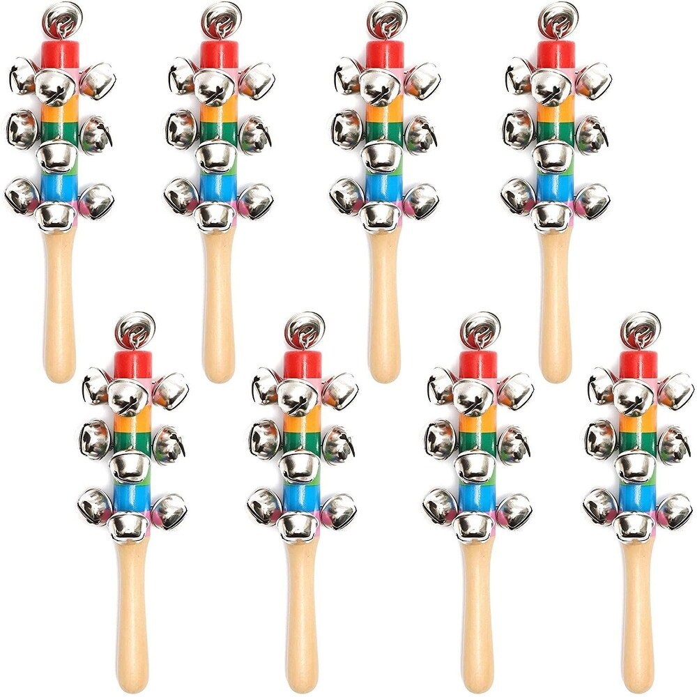 8pcs Jingle Bells Stick Shaker in Rainbow Wooden Handle, Kids Party Favors 6.7