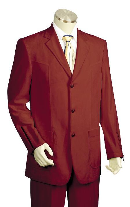 3 Button Wine Zoot Suit Mens