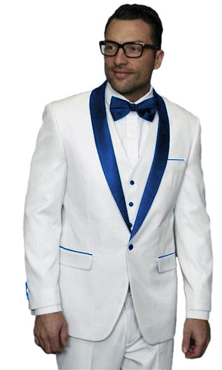Mens Alberto Nardoni White Dark Navy Blue Wedding Prom Vested Suit
