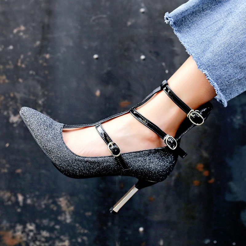 Ericdress Pointed Toe Spool Heel Buckle Casual Thin Shoes