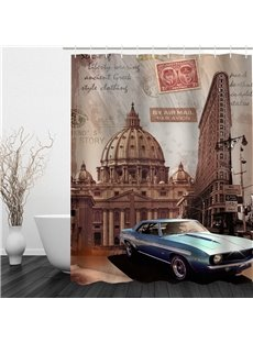 3D Car and Buildings Pattern Polyester Waterproof and Eco-friendly Shower Curtain