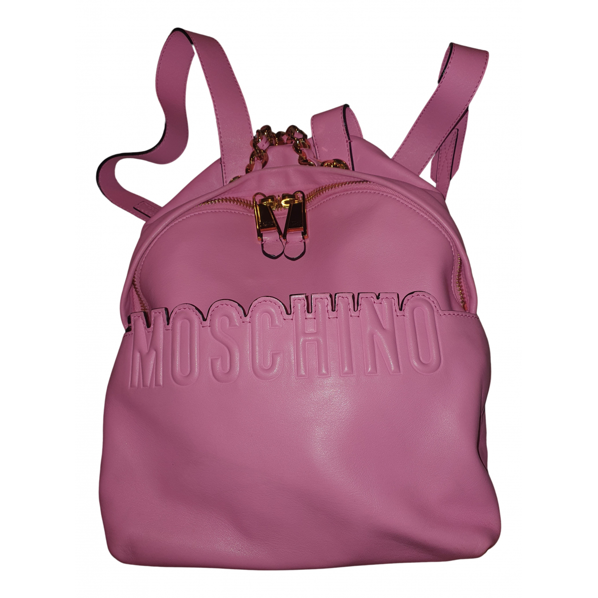Moschino N Pink Leather backpack for Women N
