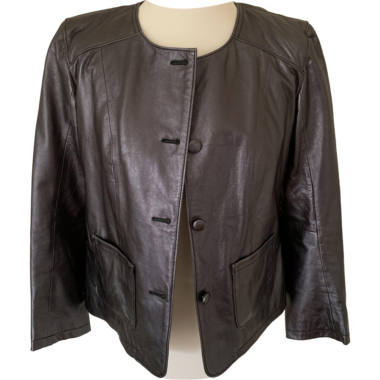 Non Signé / Unsigned \N Grey Leather Leather jacket for Women 46 IT