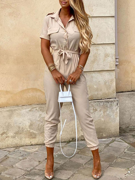 Milanoo Apricot Jumpsuit Women Turndown Collar Short Sleeves Cotton Blend Skinny Summer Playsuit