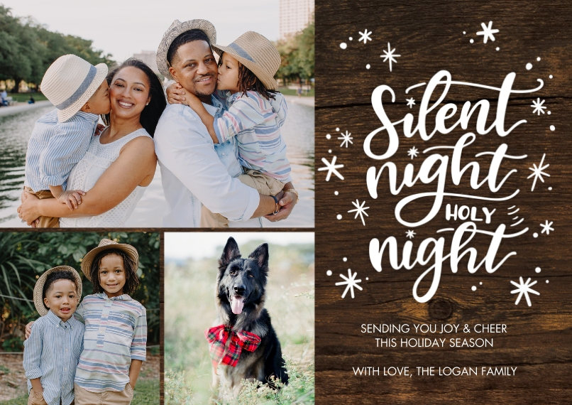 Christmas Photo Cards 5x7 Cards, Premium Cardstock 120lb with Rounded Corners, Card & Stationery -Christmas Silent Night by Tumbalina