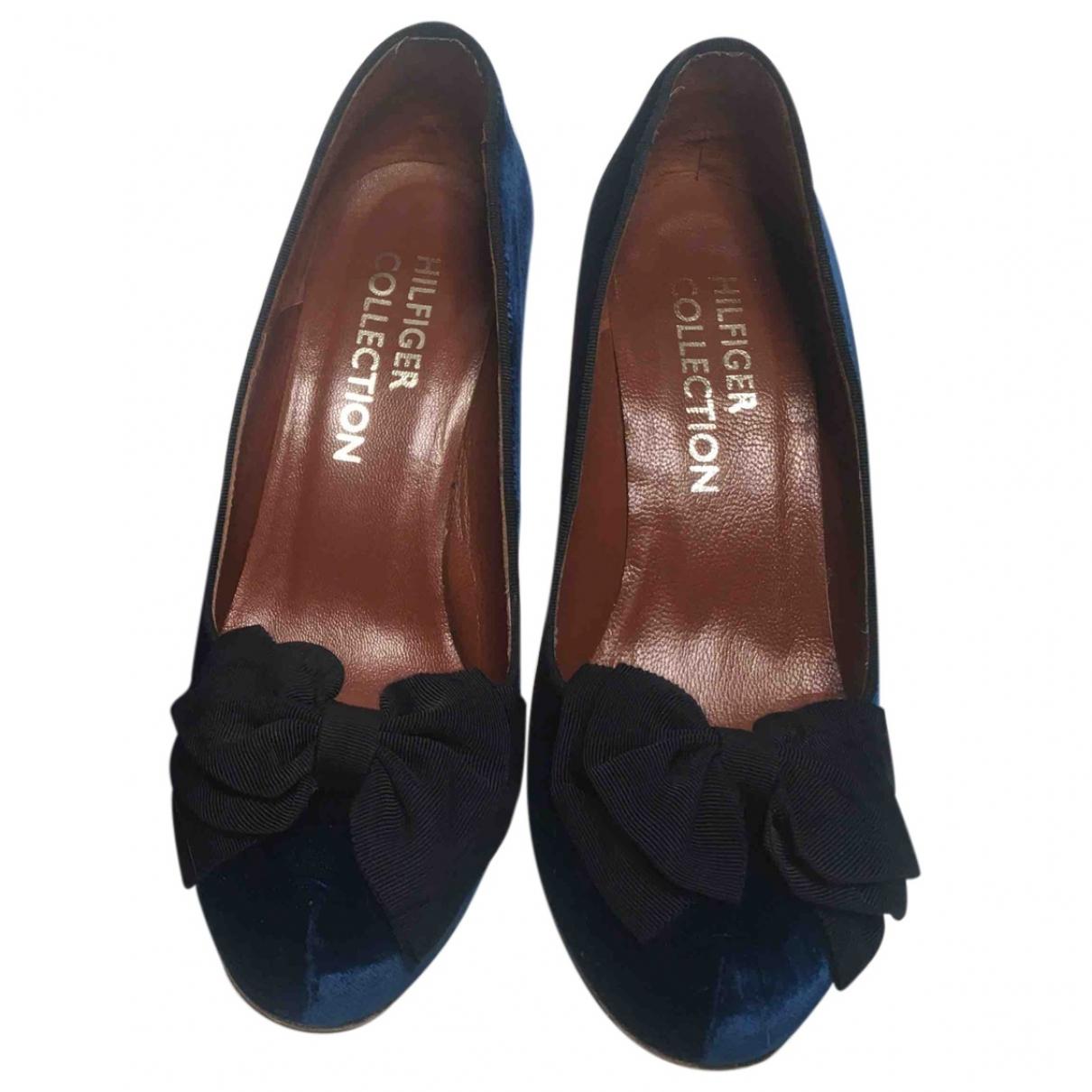 Tommy Hilfiger - Escarpins   pour femme en velours - bleu
