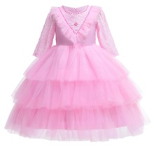 Toddler Girls Contrast Lace Pearls Detail Bow Back Layered Gown Dress